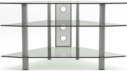 Gibson Living Ruby 44 Inch Corner Glass TV Stand Silver and