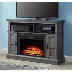 """55"""" Gray Rustic Electric Fireplace TV Stand Entertainment Ce"""