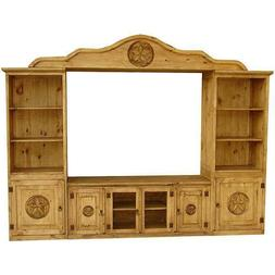 Hand Carved TV Entertainment Center Rustic Antique Solid Woo