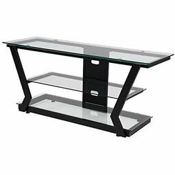 Flash Furniture Harbor Hills Glass TV Stand with Black Metal