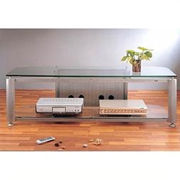 VTI HGR Series Plasma/LCD TV Stand - Silver Pole/Frosted Gla