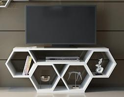 "Decorotika Honey 54"" TV stand - Media Console - White - Uniq"