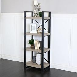 "WE Furniture 62"" Industrial Wood Media Tower, Driftwood"