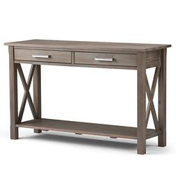 Simpli Home Kitchener Solid Wood Console Sofa Table, Distres