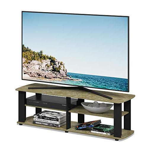 Furinno TV Entertainment Center, Short x13.4 Marble/Black