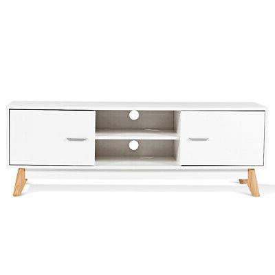 2-Tier TV Stand Center 2 White