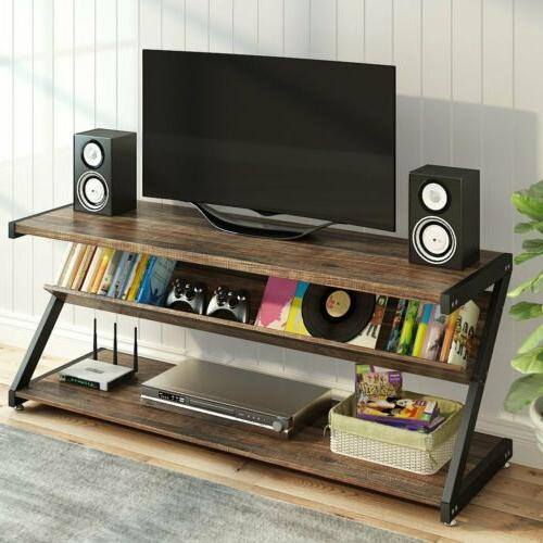 3-Tier Entertainment Center with Z-Shaped Metal Frame