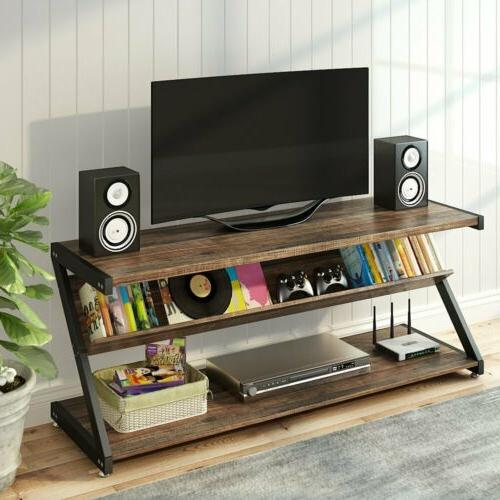 3-Tier Stand Entertainment Shelves Z-Shaped
