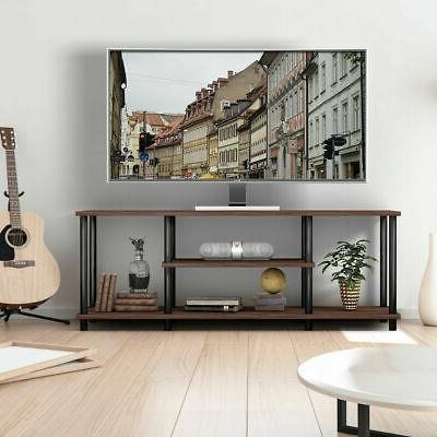 """3-Tier Stand Entertainment Media Center Console for TV's 50"""" Brown"""