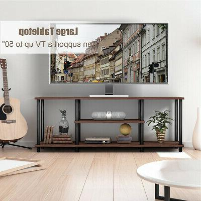 "3-Tier TV Stand Media Shelf for 50"" Brown"