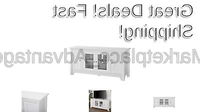52 wood tv media stand storage console