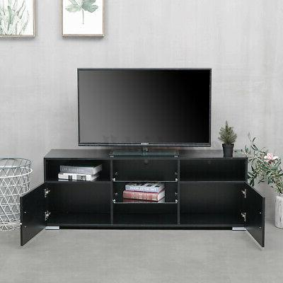 57'' Modern TV Stand Black Center to