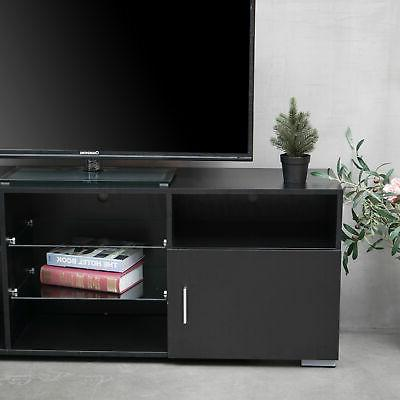 57'' Modern TV Stand Black w/LED Center to