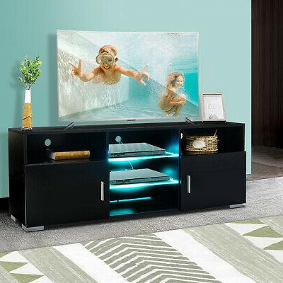 57 modern tv stand black w led