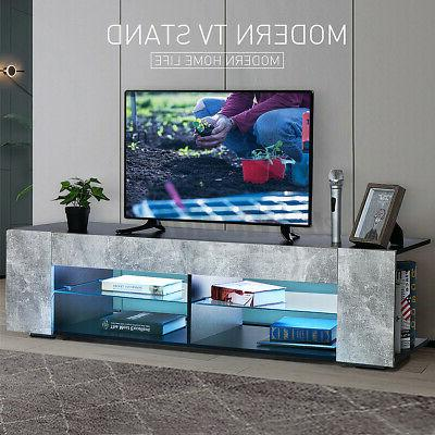 57 modern tv stand cabinet w led