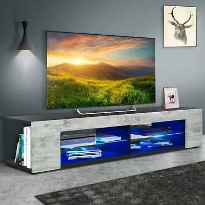 57 tv stand cabinet w led shelves
