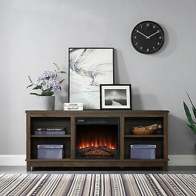 58 fireplace tv stand storage shelves entertainment