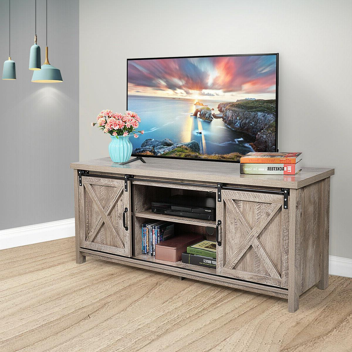 """58"""" TV Stand Sliding Barn Unit Console Table Cabinet Entertainment Center"""