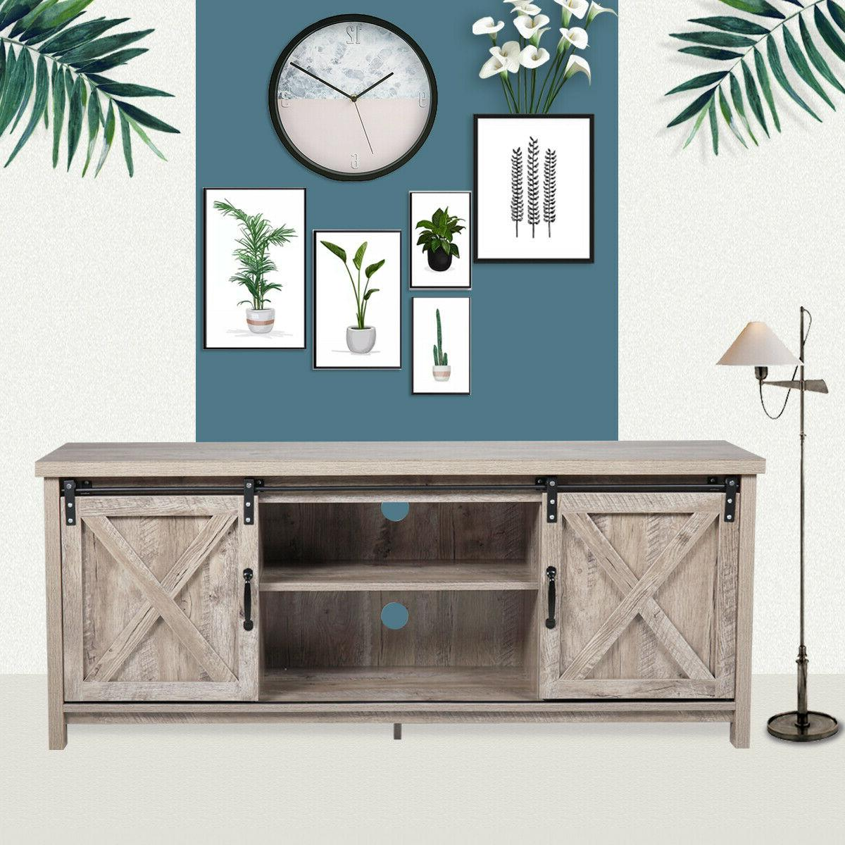 """58"""" TV Stand Barn Unit Cabinet Entertainment Gray"""