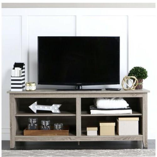 58 wood tv stand storage console driftwood