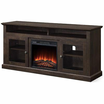 """60"""" TV With Shelves up W/ Fireplace"""