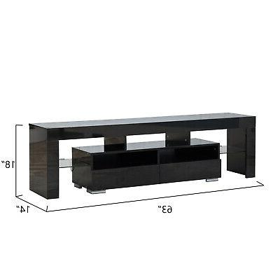 63'' Stand Entertainment Center LED Console Modern Cabinet High