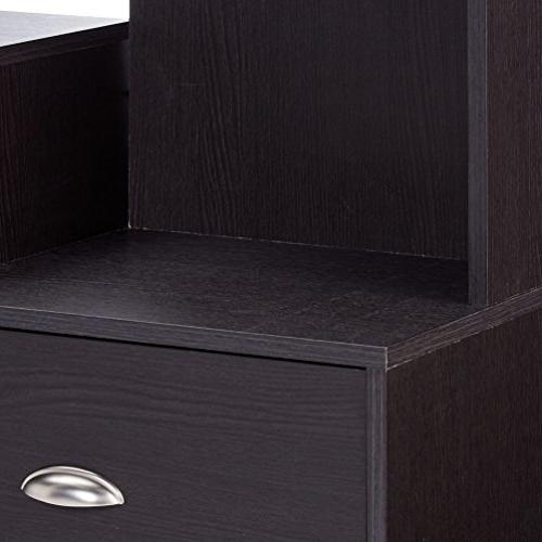 Baxton TV Stand with Built-In Vertical Console, Brown