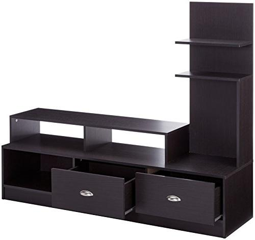 Baxton Modern TV Stand with Vertical Side Console, Brown