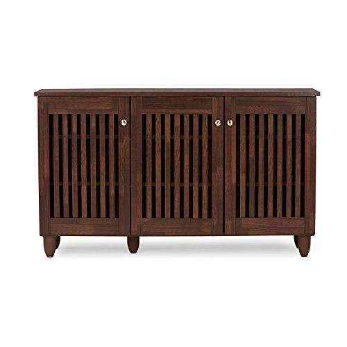 Baxton Wholesale Fernanda Modern and 3-Door Brown Entryway Shoes Cabinet