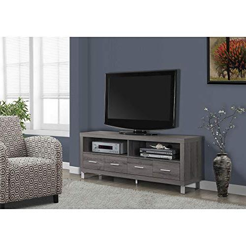 """Monarch Specialties I 2517, TV Drawers, Dark Taupe Reclaimed-Look, 60""""L"""