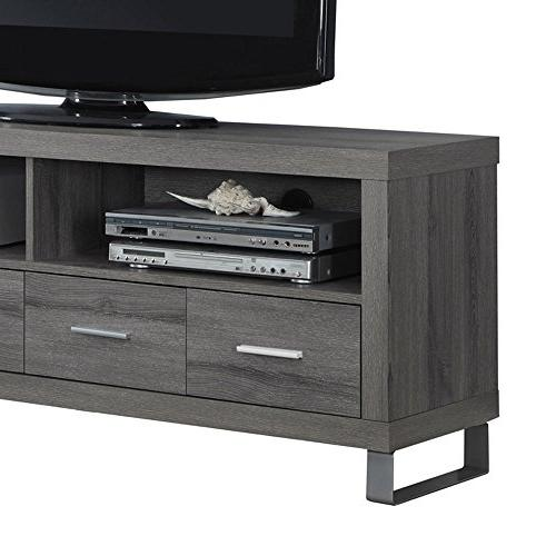 """Monarch Specialties TV Console Drawers, Taupe 60""""L"""