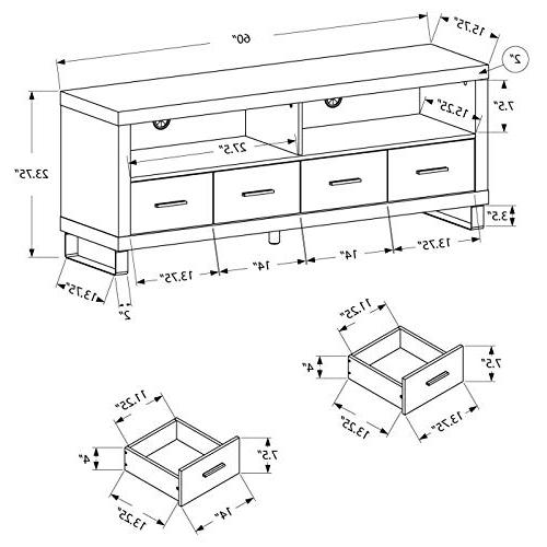 """Monarch 2517, TV 4 Drawers, Reclaimed-Look, 60""""L"""
