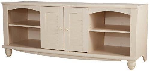 Sauder Harbor View Entertainment Credenza, Antiqued White Fi