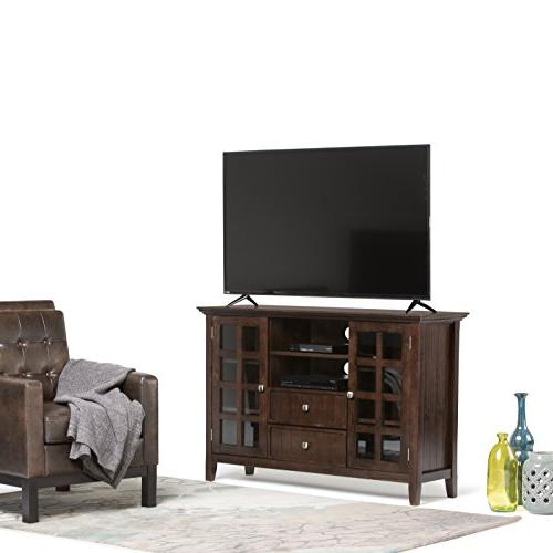 Simpli Home Solid Wood Media Stand in Brown For 58
