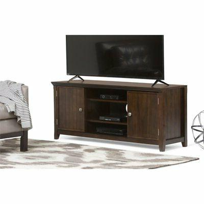 Simpli Home AXWELL3-005 Acadian Solid Wood TV Media Stand in