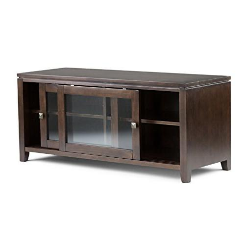 Simpli Home Cosmopolitan Solid Stand in Brown For TVs upto inches