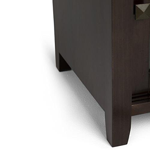 Simpli Home Solid Media Stand in Coffee Brown inches