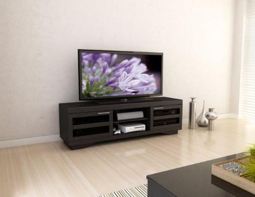 Sonax Wood Veneer TV Bench, Mocha black