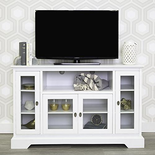 """WE Furniture 52"""" Wood Highboy Style Tall TV Stand - White"""