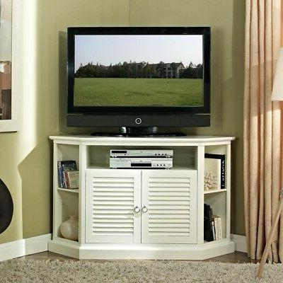 "WE Furniture 52"" Wood Corner TV Stand Console, White"
