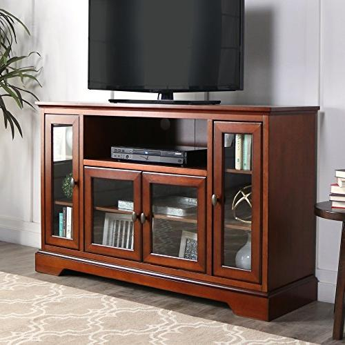 "WE Furniture 52"" Wood Highboy Style Tall TV Stand - Rustic B"