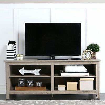 "WE Furniture 58"" Wood TV Stand Storage Console, Driftwood"