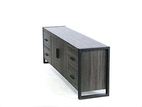 """WE 70"""" Wood TV Stand Console, Charcoal"""