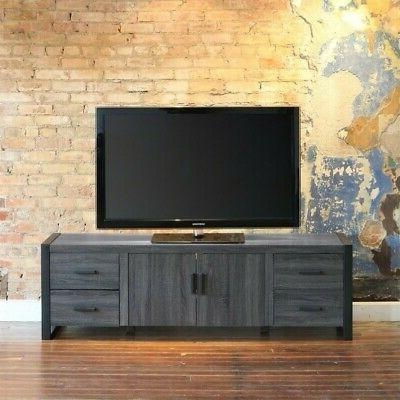 """WE Furniture 70"""" Industrial Wood TV Stand Console, Charcoal"""