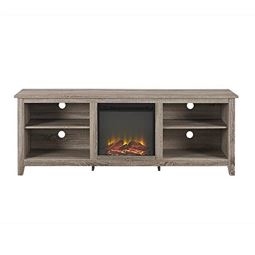 WE Fireplace TV Stand Console, Driftwood