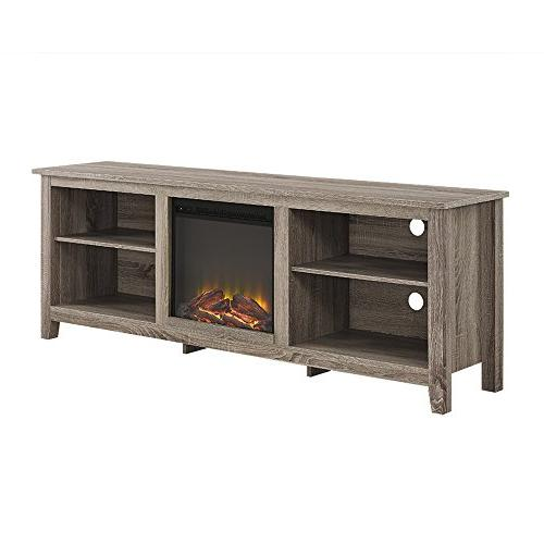 WE Fireplace TV Stand Driftwood