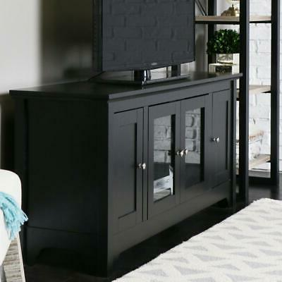 "Walker Edison 53"" Wood TV Stand Console with Storage, Black"