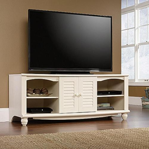 antiqued white entertainment center w 2 adjustable