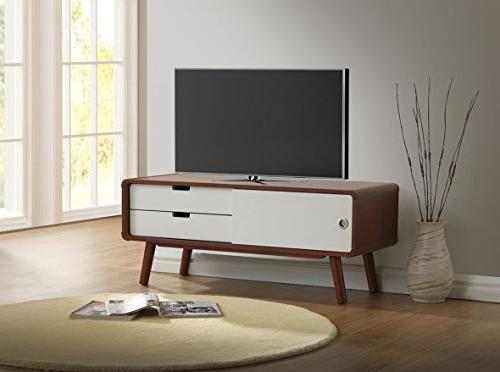 Baxton Mid-Century Modern Two-Tone Finish 2-Drawer with TV Cabinet, Dark Walnut/White