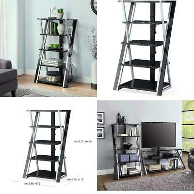 audio video rack tower storage stand glass